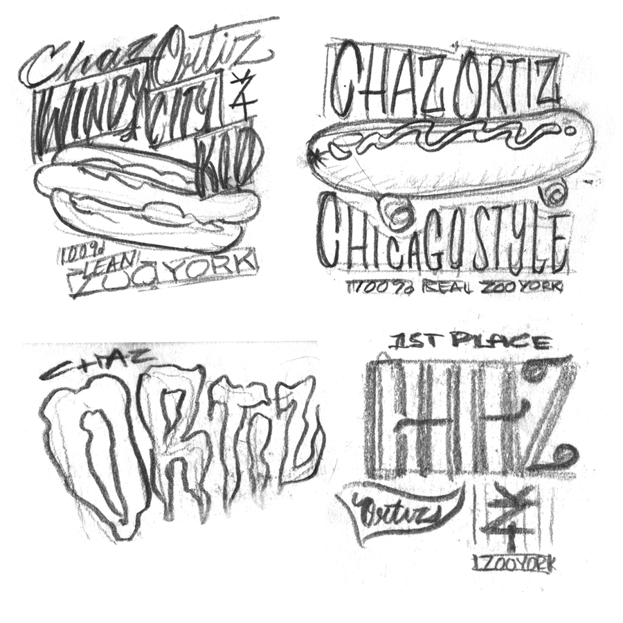 Pencil Art. Various rough lettering  concepts for the Chaz Ortiz apparel line for Zoo York
