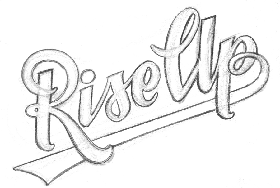 Pencil Art. Custom logo lettering for Rise Up Coffee Roasters. This logo was intended to mimic the look and spatial feel of the Baltimore Orioles baseball team jerseys.