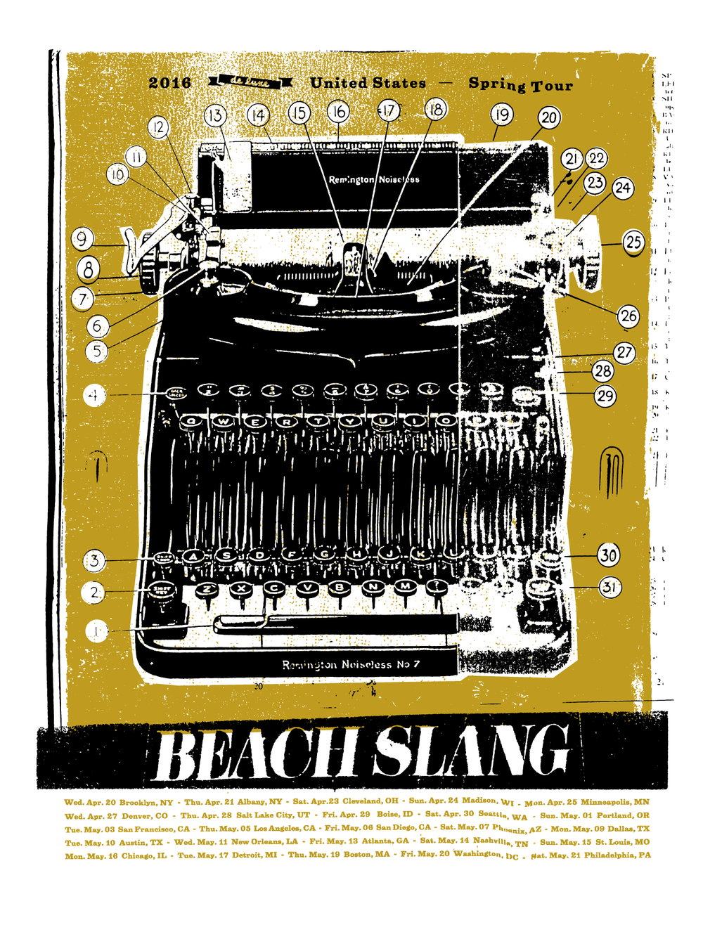 "Tour Poster, 2016.  2 Colors, golden yellow and black on  white    19""x25"" archival cover stock. Edition of 100. (Printed by  Shawn Hileman  at  Masthead Print Studio .)"