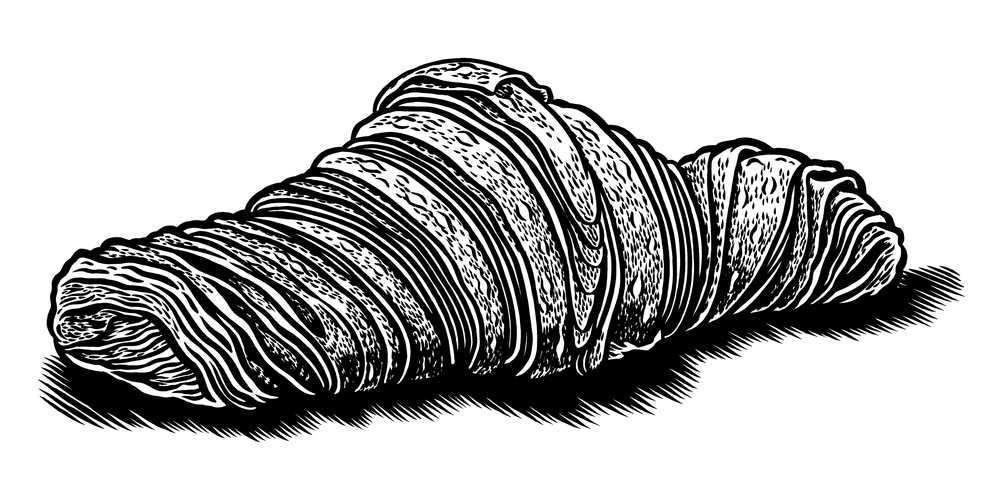The Kettle Black's Croissant, Permanent India Ink on Denril.