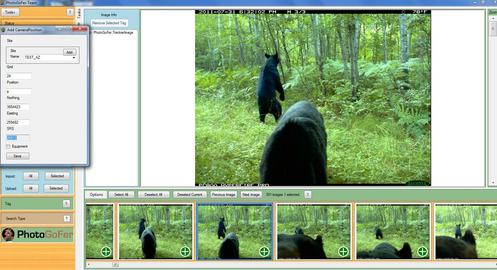 Add camera location and .exif data to all images in a set