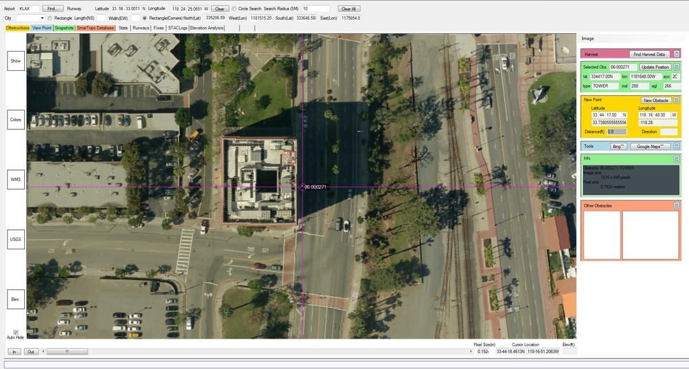 View obstacles with HRO, LIDAR or internet map services to confirm or correct horizontal position.