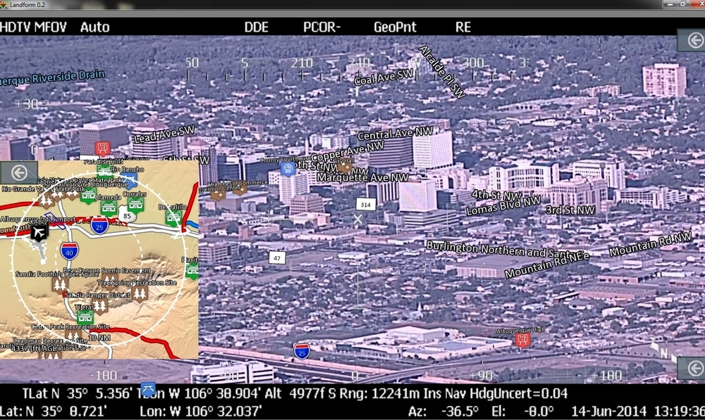 Moving map - bird's eye view of operating location with vehicle display.