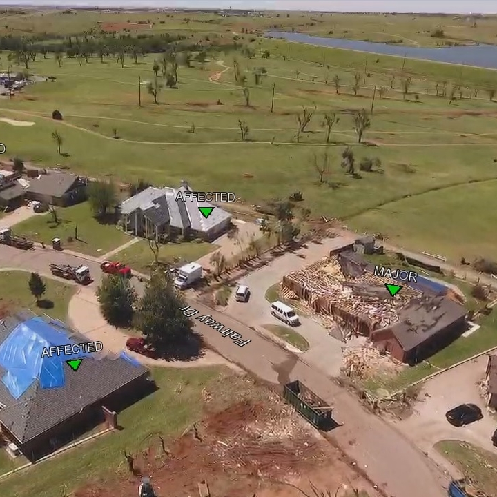 Notes by the drone pilot may be added to the video as AR over lays. Damage classifications are shown above.