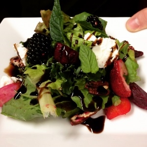 Beet salad with goat cheese, blackberries and mint is a wonderful early fall dish.