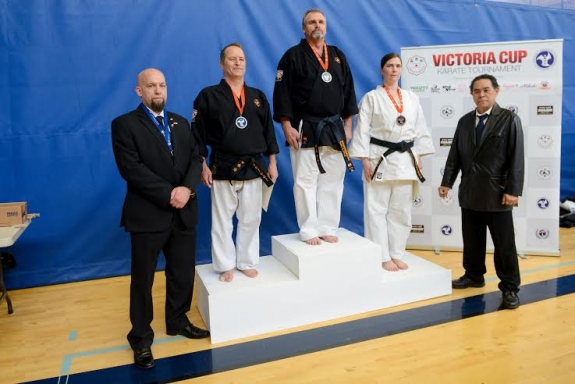 L to R:  Renshi Greg Turnbull, Shihan Mike Lilley, Shihan Paul Turner,  Sensei Erin Halstad-McGuire, Hanshi Masanobu Kikukawa     Don Osborne Photography