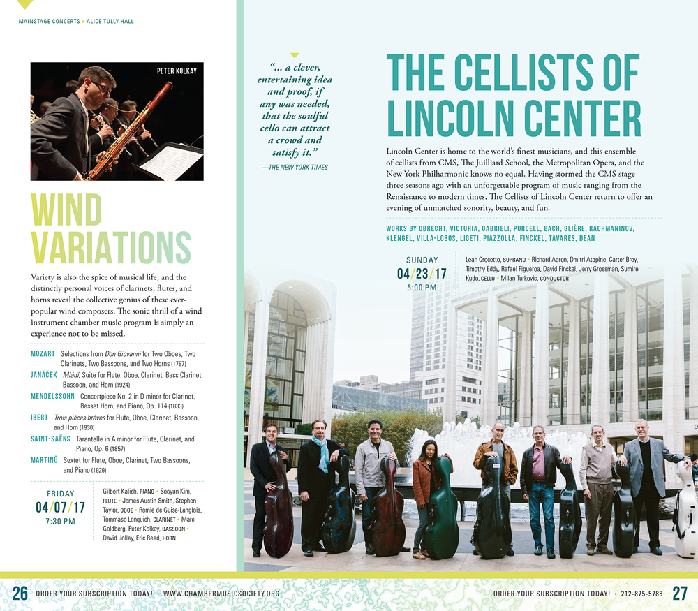 Printed in the Chamber Music Society of Lincoln Center 2016-2017 Season Brochure. Designed by   Leah Bailey.