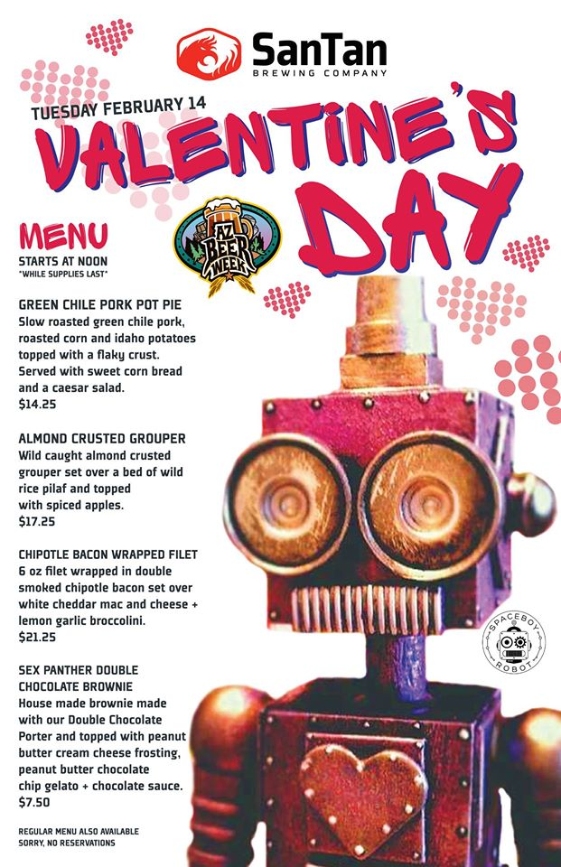 The SanTan Brewing Co. special Valentine's Day menu.