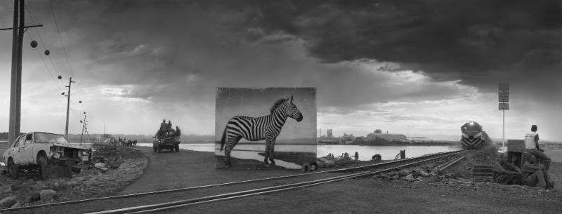 Road to Factory with Zebra, 2014 by Nick Brandt