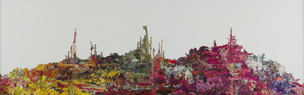 "Elizabeth Alexander,   BELLINGRATH gardens & home: All the Flowers , 2008-2011, Every flower removed from 20 collaged book pages from Bellingrath Gardens and Home published by: Bellingrath-Morse Foundation; 1st edition (1974), glue, 12 x 38"""