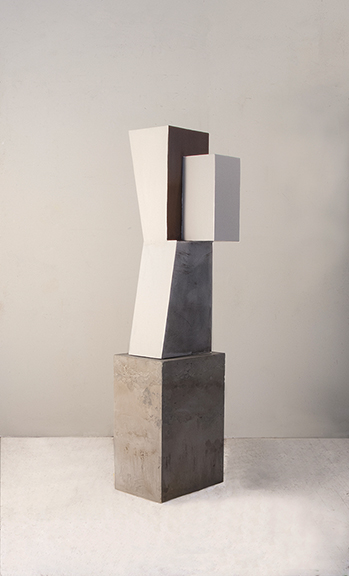 Kit Reuther,  #1333-3d , 2016, metal, concrete, paint and rust, 54 x 14 x 13 inches.
