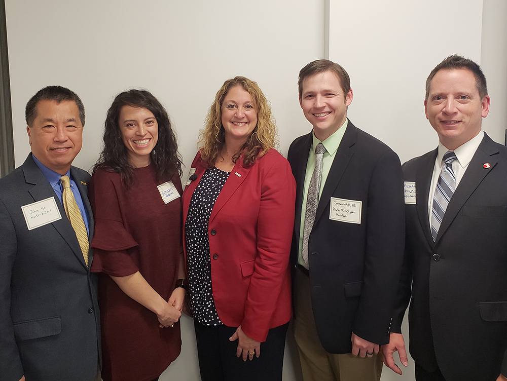 Pictured left to right: John Ho of Huitt-Zollars (Event Co-Chair), Adrianna Vandercook of Jacobs (TSPE Dallas President), Kristen Taber of Toyota (Honorary Chair), Jeremy White of City of Rockwall (TSPE Preston Trail President) and Richard Arvizu (Event Co-Chair).