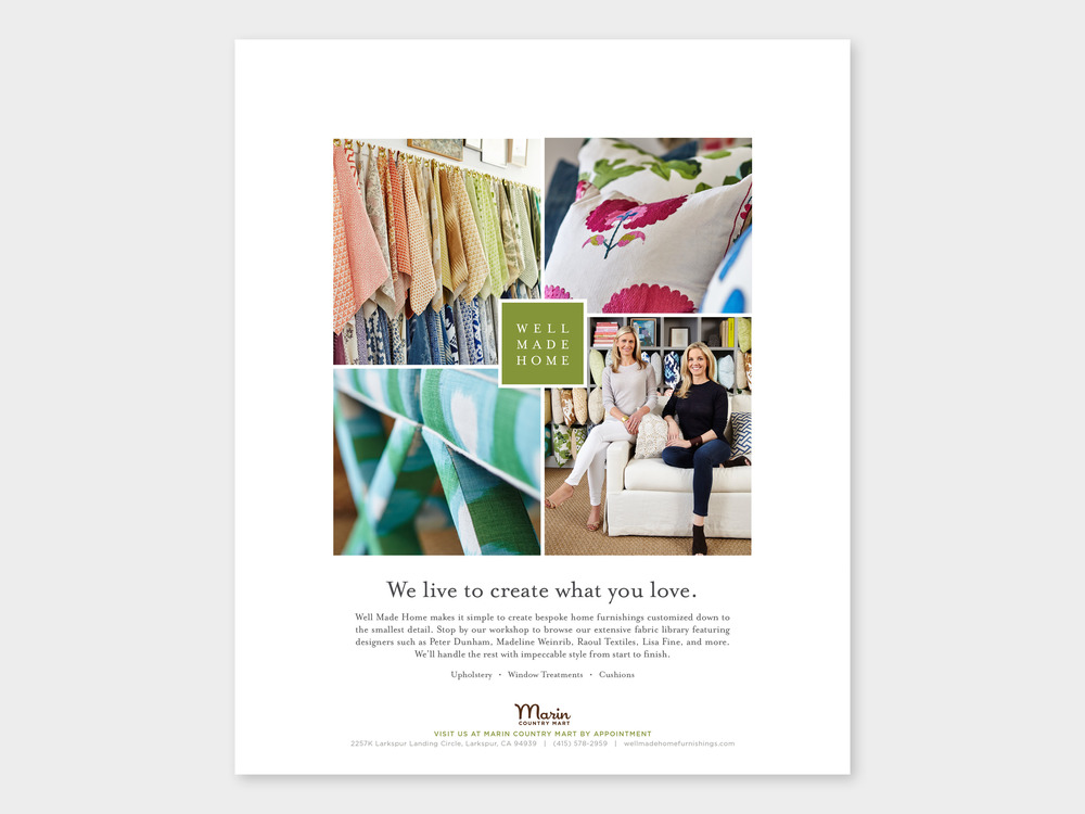 Ad created for Marin At Home magazine Summer / Fall 2016