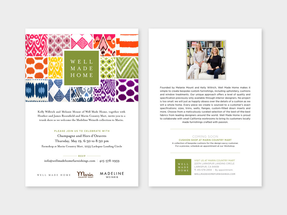 Invitation for Madeline Weinrib trunk show
