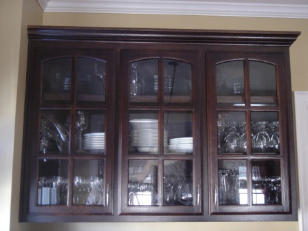 Refinished cabinets with glass