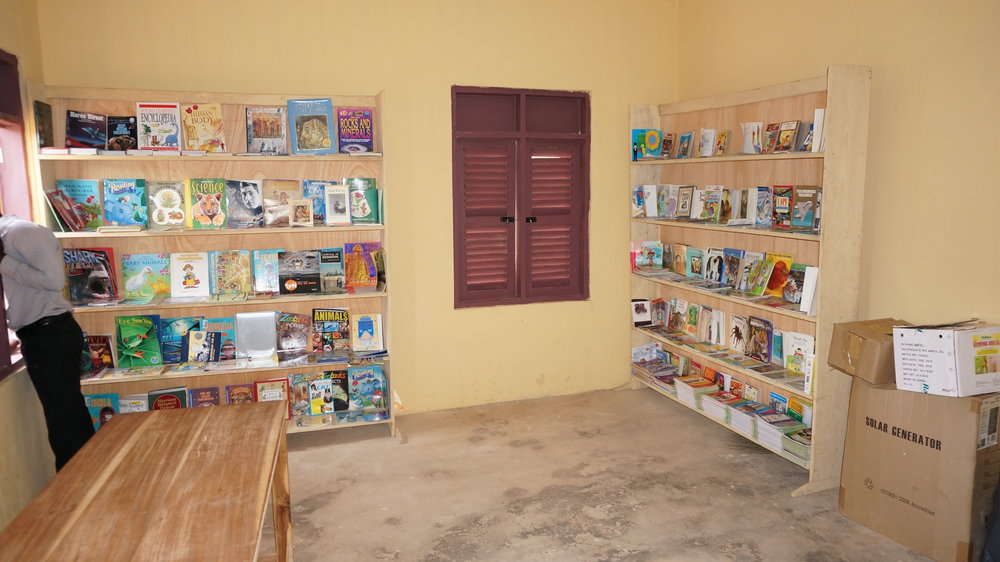 We provided shelves, tables, and 1000 books to fill school libraries.