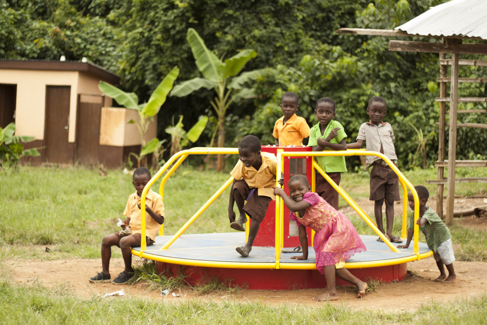 Without electricity, children in Ghana cannot study at home during their only time to do homework--night. This problem is solved when children play on EPI equipment which uses the children's energy to charge a battery.