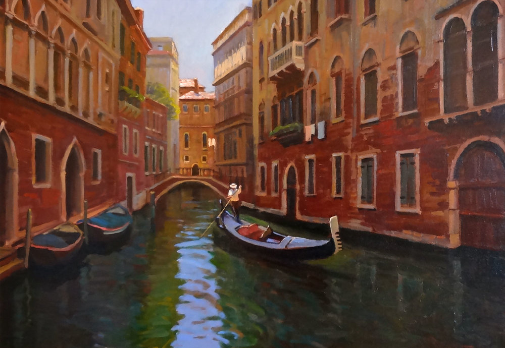 GONDOLIER, VENICE oil, 28 x 20 in.