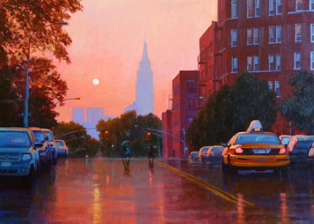 SUNSET, EMPIRE STATE BUILDING oil, 31 x 22 in.