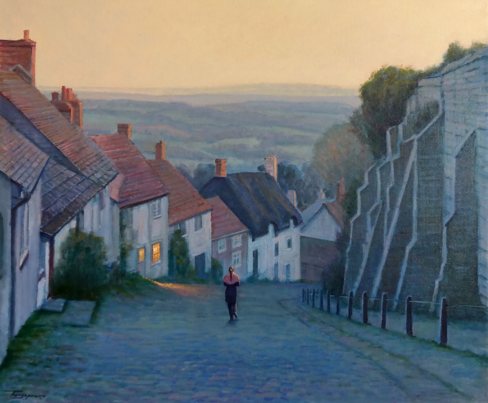 EVENING STROLL, SHAFTESBURY oil, 24 x 20 in.