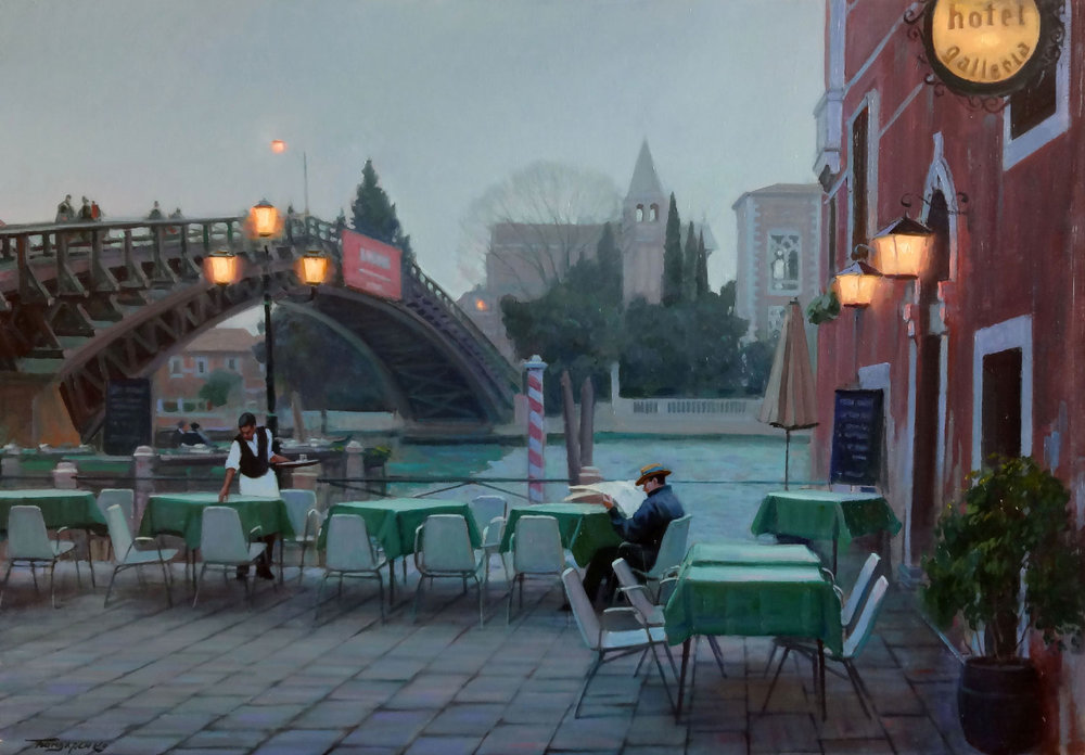 VENICE, CAFE NEAR ACADEMIA BRIDGE oil, 39.5 x 27.5 in.