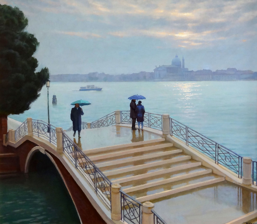 RAINING IN VENICE oil, 28 x 24 in.