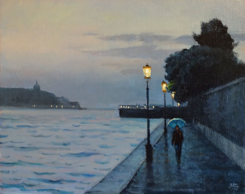 WALKING, VENICE  oil, 10 x 8 in.