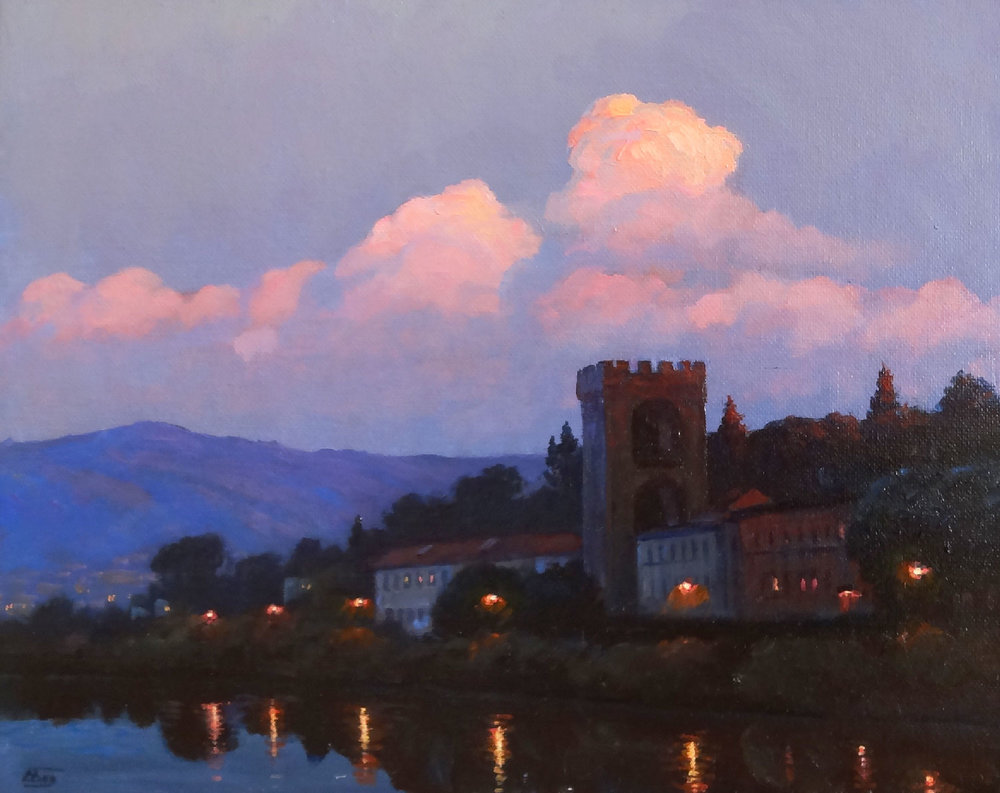 RIVER ARNO, FLORENCE  oil, 14 x 11 in.