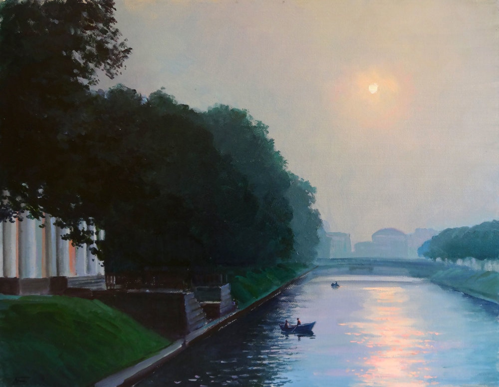 MIDNIGHT SUN IN ST. PETERSBURG  oil, 18 x 14 in.