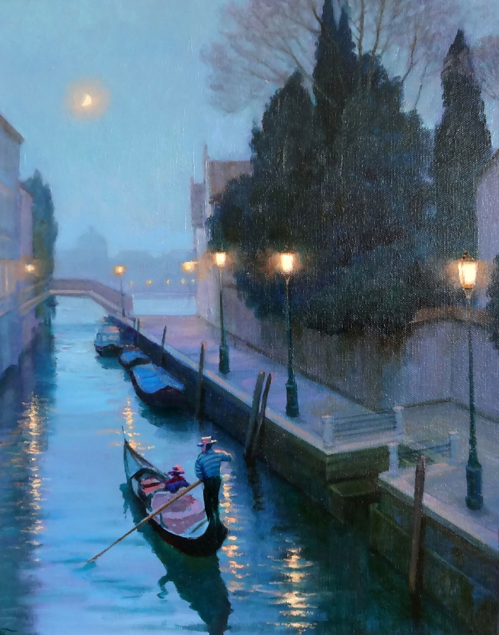 MOONLIGHT IN VENICE  oil, 16 x 20 in.