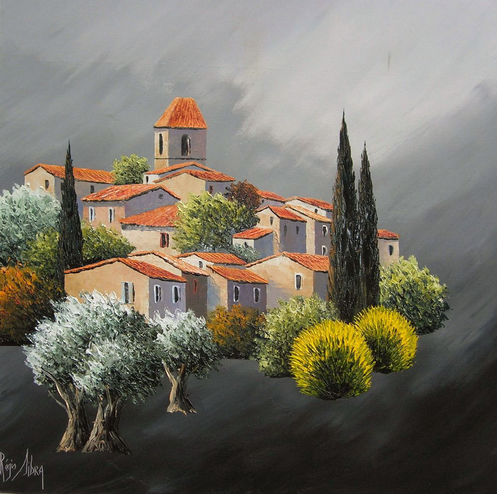 VILLAGE DE BANON  oil, 24 x 24 in.