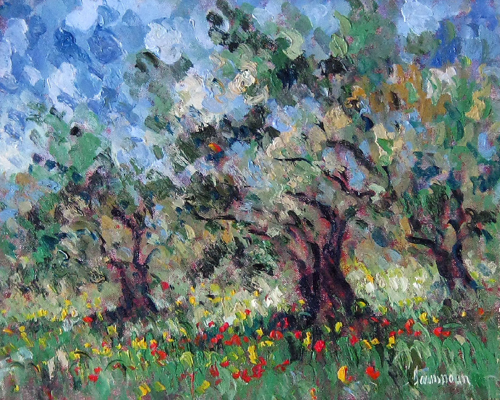 OLIVE AND POPPIES oil, 20 x 16 in.