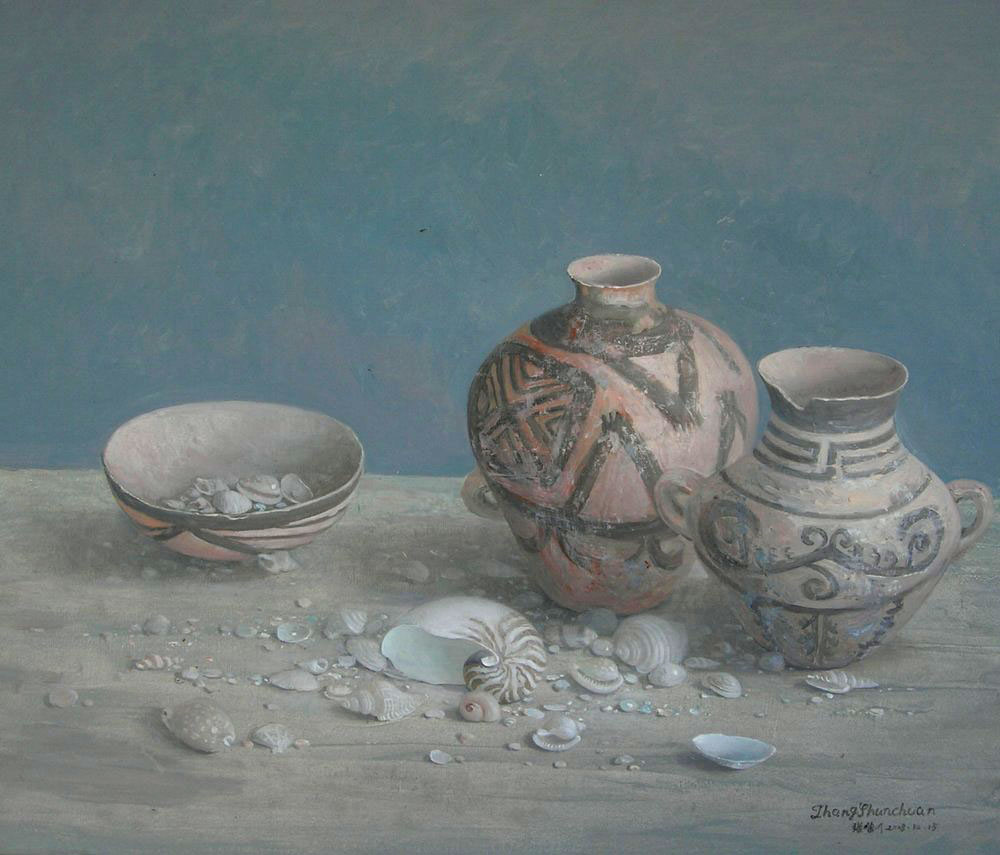 ANTIQUITIES oil, 31 x 26.5 in.