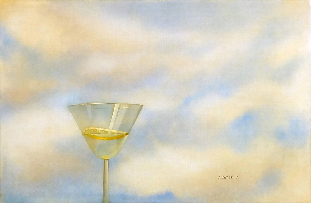 COCKTAIL + CITRON egg tempera on panel, 17 x 11 in.