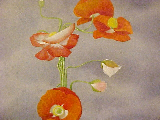 POPPIES egg tempera on panel, 17 x 13 in.