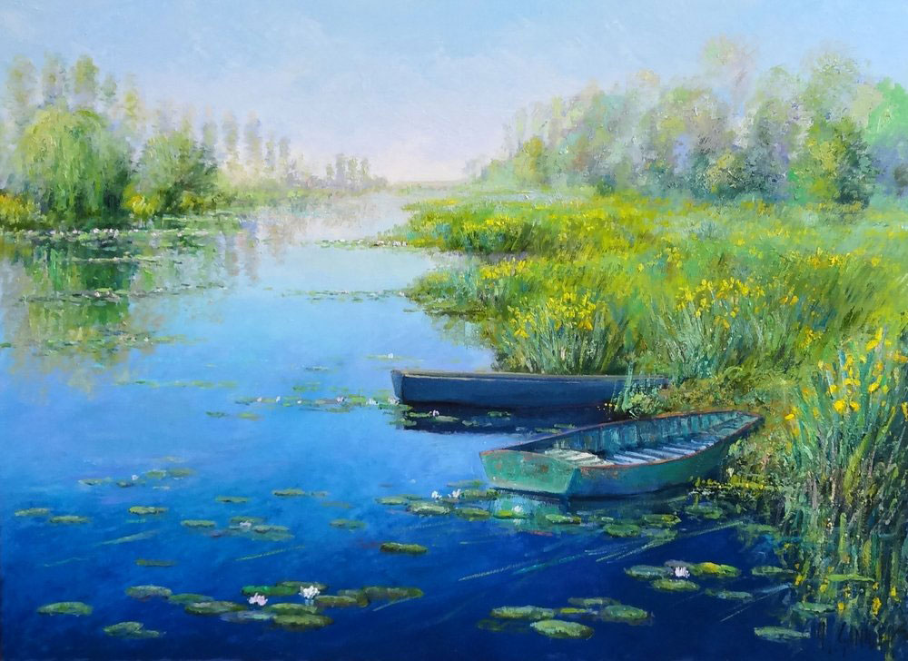 IRIS DANS LE GRAND ETANG  oil, 40 x 30 in.