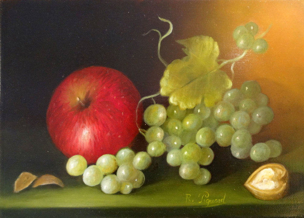 FRUITS ET NOIX  oil, 8.5 x 6 in.