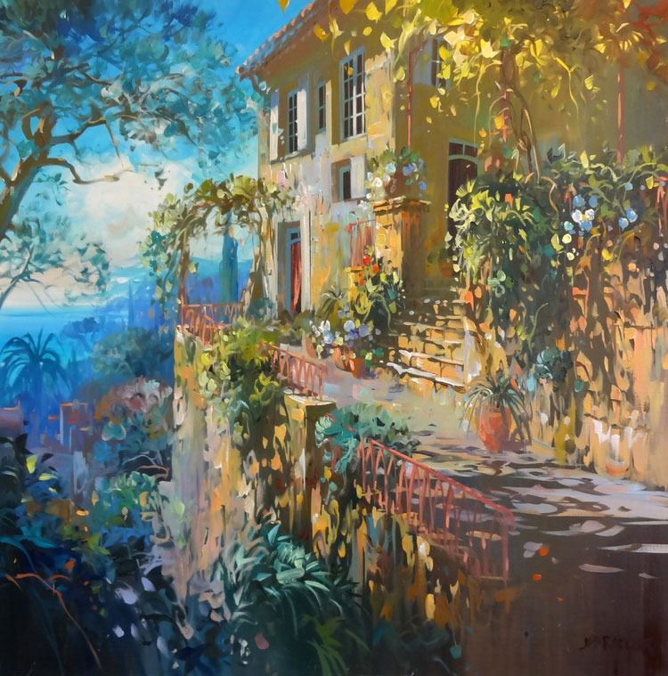 PANORAMA SUR LE LUBERON oil, 32 x 32 in.