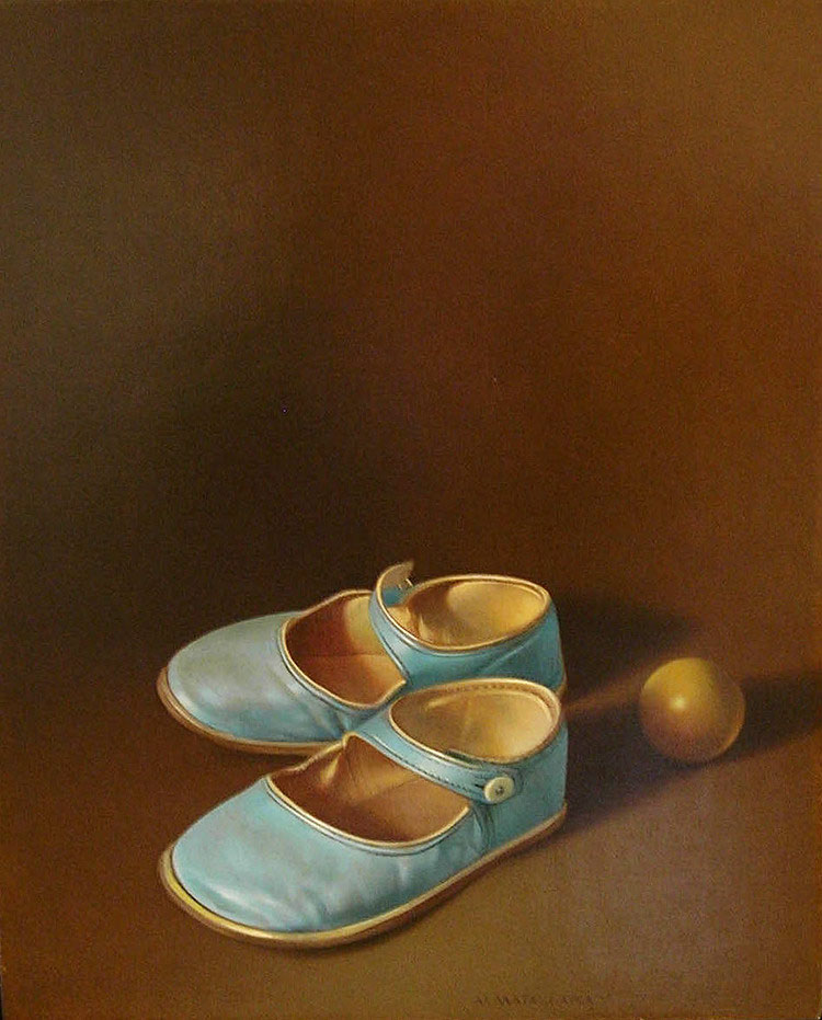 CHAUSSURES TURQUOISE II  egg tempera on panel, 9 x 11 in.