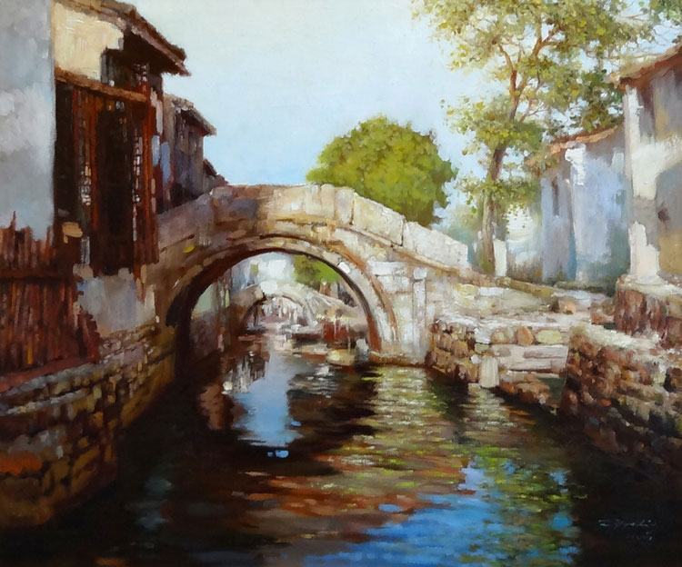 FOOT BRIDGE  oil, 26 x 22 in.