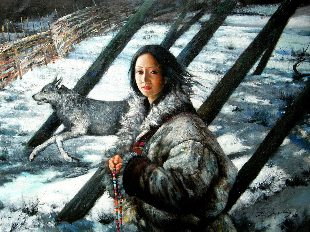 GIRL WITH WOLF  oil, 40 x 31 in.