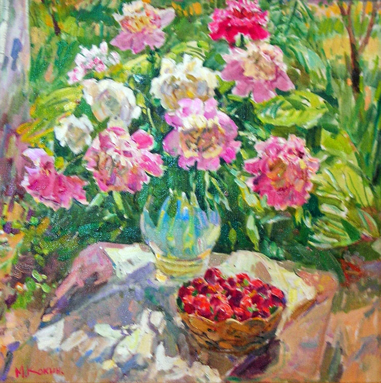 EL CESTO DE FRESAS oil, 27 x 27 in.