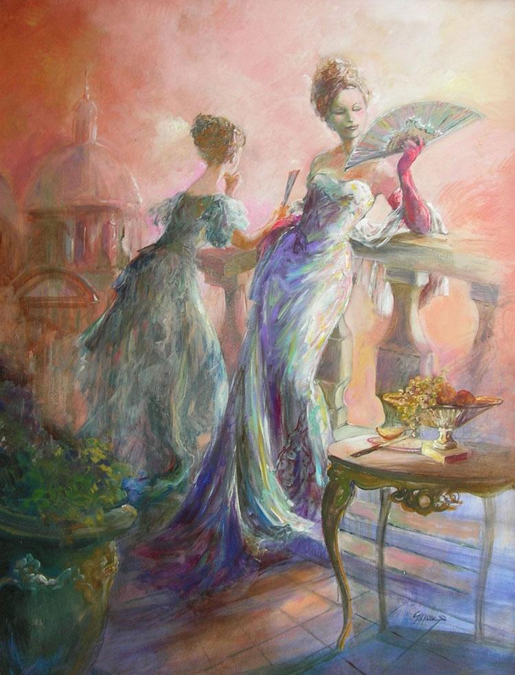 LES VENICIENES oil on canvas, 35 x 46 in.