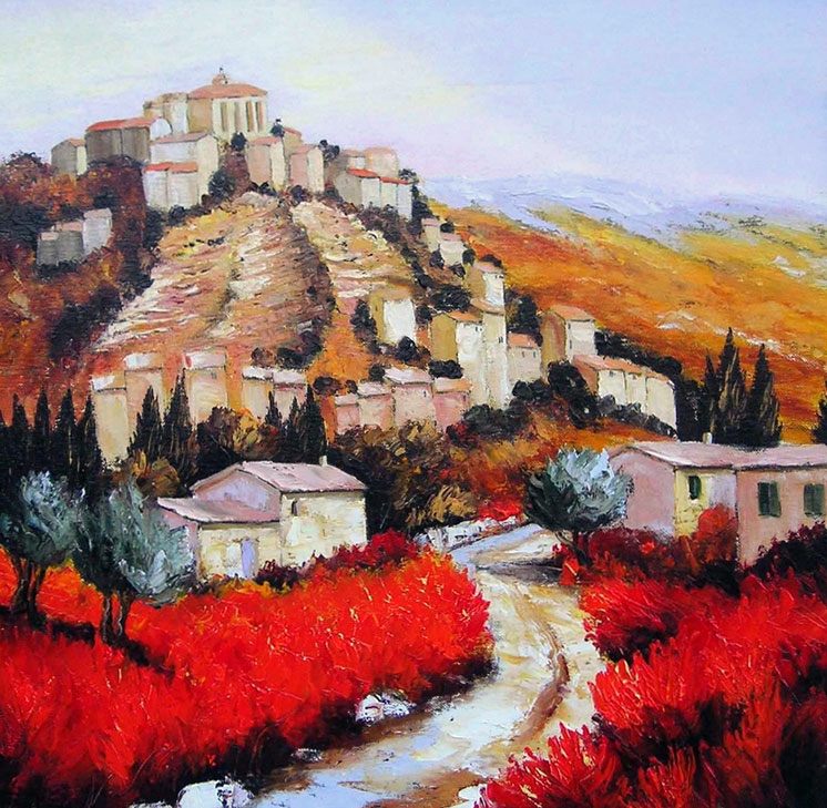 LUMIERE AUTOMNALE SUR GORDES oil, 24 x 24 in.