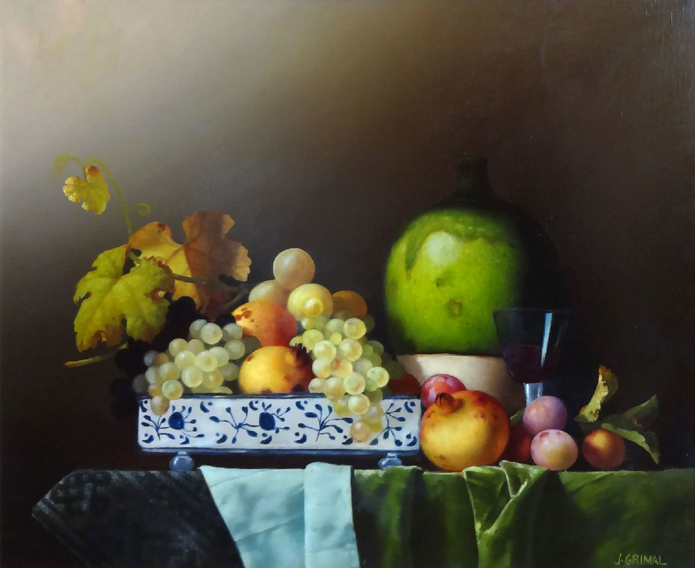 BOL AVEC FRUITS ET VIN ROUGE oil, 24 x 20 in.