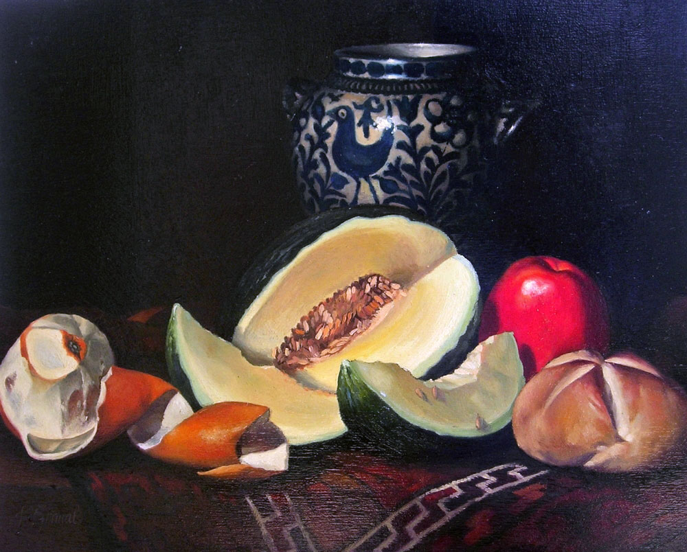 NATURE MORTE, POTERIE  oil, 17 x 13 in.