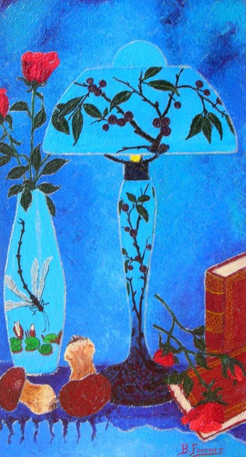 LECTURE SOUS LA LAMPE PRUNE LLIER  oil, 11 x 16 in.