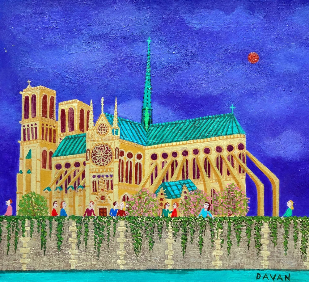 NOTRE-DAME oil on paper, 7.25 x 7.5 in.