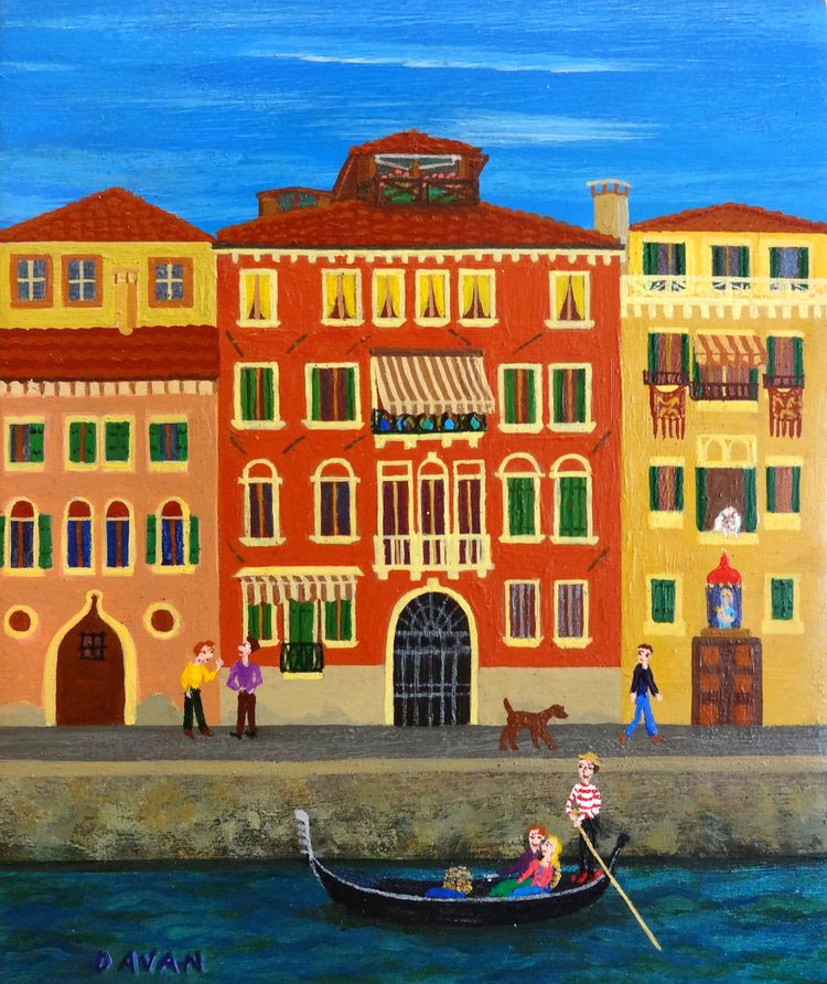 USUALLY ITALIAN GUYS WEAR BROWN SHOES, VENICE oil on stone, 5 x 6 in.