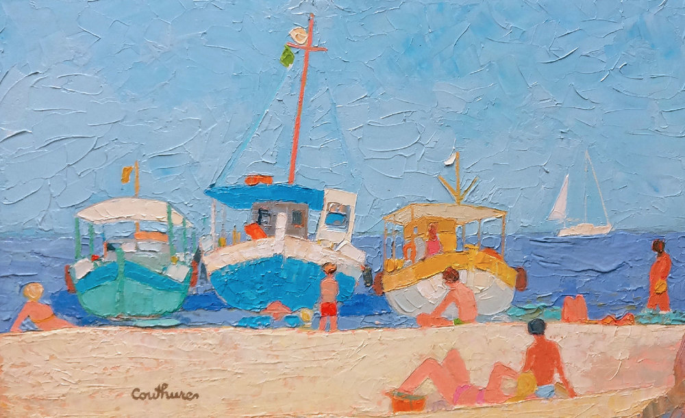 SUR LE SABLE oil, 26 x 22 in.